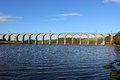 Royal border railway bridge over river tweed looking up the at berwick upon northumberland to the carrying the east coast Royalty Free Stock Images