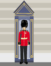 Royal british guardsman holding a rifle and standing near guard box Royalty Free Stock Images