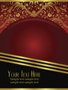 Royal Burgundy Background with Ornate Gold Leaf Royalty Free Stock Photo