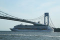 Royal caribbean explorer of the seas cruise ship under verrazano bridge new york june on june built in with Royalty Free Stock Images