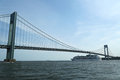 Royal caribbean explorer of the seas cruise ship under verrazano bridge new york june on june built in with Royalty Free Stock Image