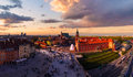 Royal castle and old town at sunset in Poland