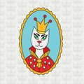 Royal cat with crown doodle colorful vector portrait Royalty Free Stock Photo