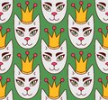 Royal cat face seamless vector pattern Royalty Free Stock Photo