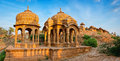 The royal cenotaphs of historic rulers at Bada Bagh in Jaisalmer, Rajasthan, India Royalty Free Stock Photo