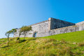 Royal citadel in plymouth massive fortification walls of the as seen from the shore Stock Photo