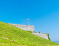Royal citadel in plymouth an union jack flag flying on top of the massive fortification walls of the Stock Photos