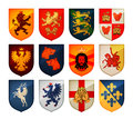 Royal coat of arms on shield vector logo. Heraldry, blazonry set icons Royalty Free Stock Photo