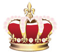 Royal crown with pink pearls vector illustration on white Stock Photos