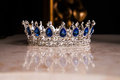 Royal crown with sapphires, luxury retro style. Royalty Free Stock Photo