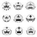 Royal Crowns emblems set. Heraldic vector design elements collection. Retro style label, heraldry logo. Royalty Free Stock Photo