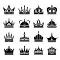 Royal crowns vector illustration set in black Royalty Free Stock Photo