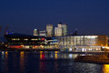 Royal docks and canary wharf night scene in london Stock Photo