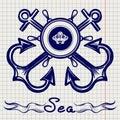 Royal fleet emblem on notebook page
