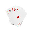 Royal flush cards in diamonds isolated on white background Stock Image