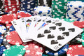 Royal Flush and casino chips Royalty Free Stock Photo