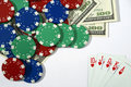 Royal flush and chips Royalty Free Stock Photos
