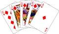 Royal flush diamonds playing cards Stock Photography