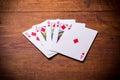 Royal flush diamonds poker combination Royalty Free Stock Photo