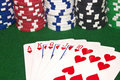 Royal Flush and Poker Chips Stock Images