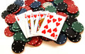 Royal flush on poker chips and white background isolated concept of gambling and casino Royalty Free Stock Images