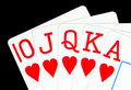 Royal flush poker hand Stock Photo