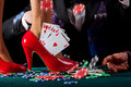 Royal flush in shoe Royalty Free Stock Photo