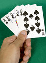 Royal flush - spades Stock Photo