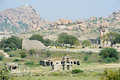 Royal fort of zenana enclosure in front matanha hill at hampi on india Stock Photos