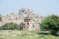 Royal fort of zenana enclosure in front matanha hill at hampi on india Stock Images