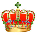 Of royal gold crown with jewels Royalty Free Stock Photography