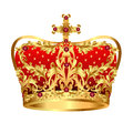 Royal gold crown with red precious stones Stock Photos