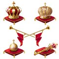 Royal golden crowns, fanfares, scepter and orb Royalty Free Stock Photo
