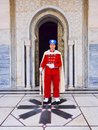 Royal guard in front of the mausoleum of mohammed v in rabat morocco contains tombs moroccan king and his sons Stock Photos