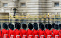 Royal guards at buckingham palace london uk may during the state opening of parliament Stock Photo