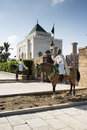 Royal guards in rabat the beautiful mausoleum of mohammed v with two front of the gate Royalty Free Stock Photos