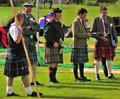 Royal highland games officials braemar a kilted group of at the at in the scottish highlands Royalty Free Stock Photos