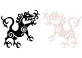 Royal lion tattoo viking in the shape of a fire breathing on a white background Royalty Free Stock Photos