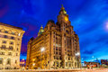 Royal Liver Building in Liverpool in the evening Royalty Free Stock Photo