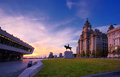 Royal liver building liverpool at sunset on waterfront Stock Images