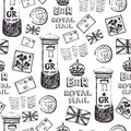 Royal mail pattern letters postage stamps and mailboxes Royalty Free Stock Images
