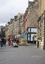 The royal mile in edinburgh is name given to a succession of streets forming main thoroughfare of old town of city of Stock Image