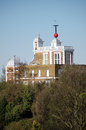 Royal observatory and hour marker greenwich view of the historic in london the red ball rises then drops on the exact of the day Stock Images