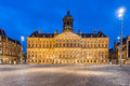 Royal Palace in Amsterdam on the Dam Square in the evening Royalty Free Stock Photo