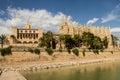 Royal Palace of La Almudaina and Cathedral La Seu Royalty Free Stock Photo