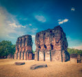 Royal palace ruins vintage retro hipster style travel image of ancient unesco world heritage site pollonaruwa sri lanka Royalty Free Stock Image
