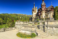 Royal Peles Castle and beautiful garden,Sinaia,Romania Royalty Free Stock Photo