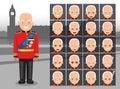 Royal Person Duke Uniform Cartoon Emotion faces Vector Illustration