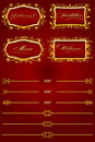 Royal Red Retro Decorative Elements II Royalty Free Stock Photography