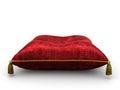 Royal red velvet pillow on white background Royalty Free Stock Photo
